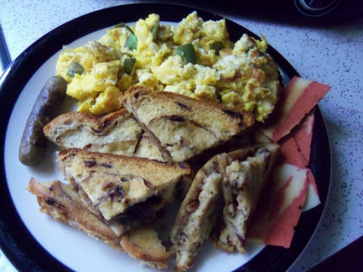 Try this with other recipes on this site like the Campbelled eggs or Western Pepper & Egg Strata. This meal included vegan bacon and vegan sausage.