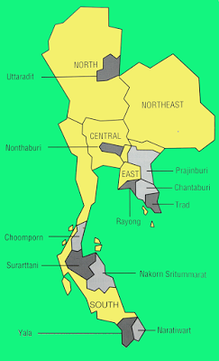 Durian production areas of Thailand