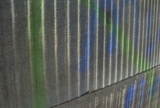 Paint on a corrugated wall