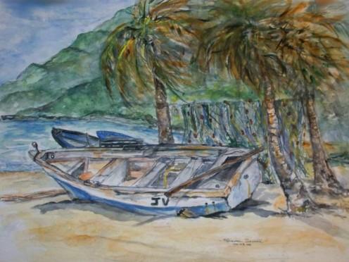 Boat at Maracas - Original art by Sharrie69