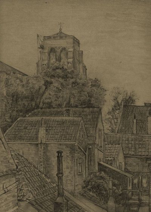 Church Tower of Zierikzee - drawn by Synco Schram de Jong at the age of 19 years.