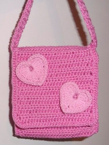 And crocheted bag with hearts is done.
