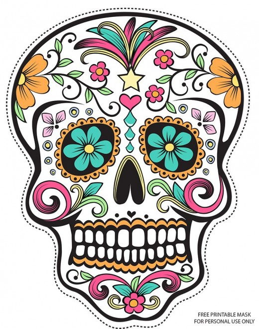 Full Color Sugar Skull Day of the Dead Mask