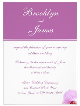 Wedding invitation in radiant orchid and white combination