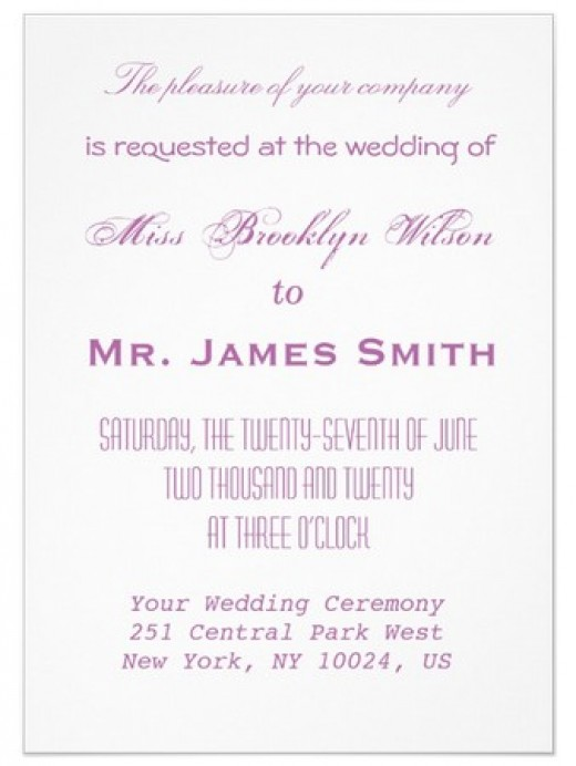 Personalized radiant orchid invitation card with basic info only