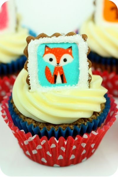 Adorable Idea for Cupcake Toppers. Just print a fox image on edible paper then make into cupcake toppers.