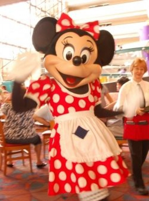 Minnie Mouse at Chef Mickey's in Disney's Contemporary Resort at Disney World.