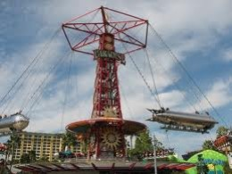 The Golden Zephyr at Disney's California Adventure theme park has a steampunk aesthetic