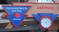 Sign showing 80 minute wait for Space Mountain at Disney World