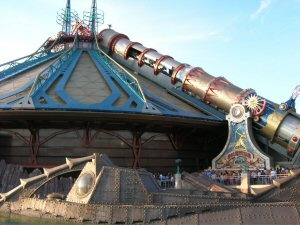 "Les Mystères du Nautilus (French for ""The Mysteries of the Nautilus"") and Space Mountain at Disneyland Paris in France."