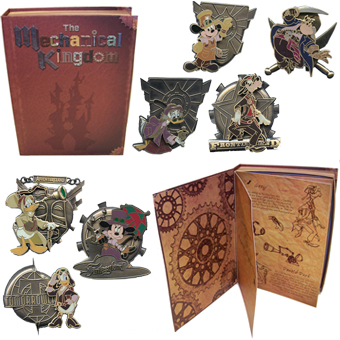 "Disney - Mechanical Kingdom - Collectors Pin Set.  Limited edition set features the Disney characters in a ""steampunk"" style fro"