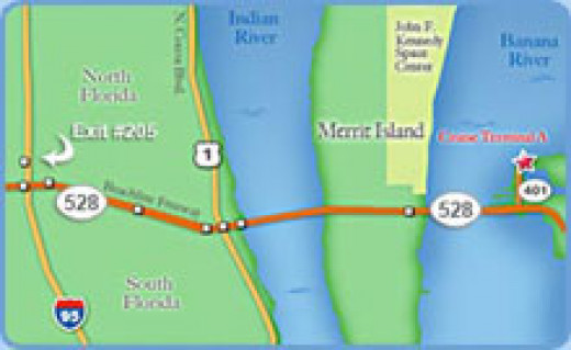 Map to Port Canaveral from Southern Florida