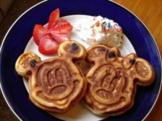Mickey & Minnie Mouse Waffles at Disney World