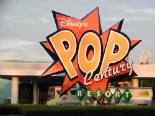 Disney's Pop Century Resort Sign at Disney World in Orlando, Florida.