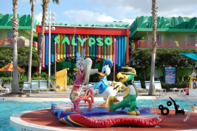 The Three Caballeros at the Calypso Pool at Disney's All-Star Music Resort