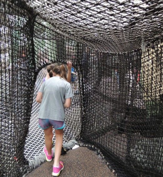 This spider web of climbing ropes is a lot of fun for kids but the openings are too small for most adults.