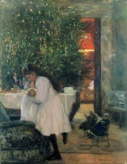 Painting: Unter dem Weihnachtsbaum (1892) Artist: Franz Skarbina (1849-1910)