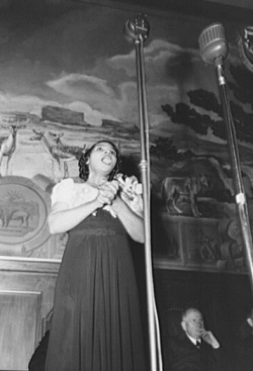 Marian Anderson singing a Negro spiritual in a performance in Washington, D. C.