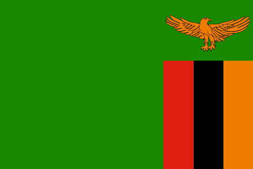 The flag the Republic of Zambia.  Click on this flag to go to Zambia's official website.