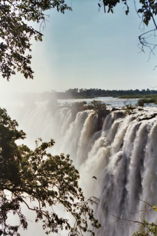 The beautiful Victoria Falls are on the Zambezi River, which forms the border between Zambia and Zimbabwe.
