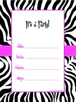 zebra printable birthday invitation