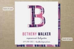 babysitting business card - cute plaid