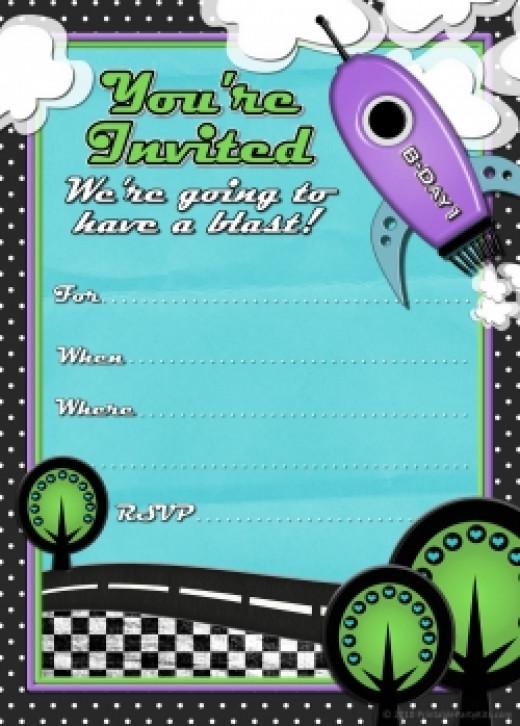 rocket printable birthday invitation