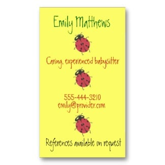 ladybug theme babysitter business card