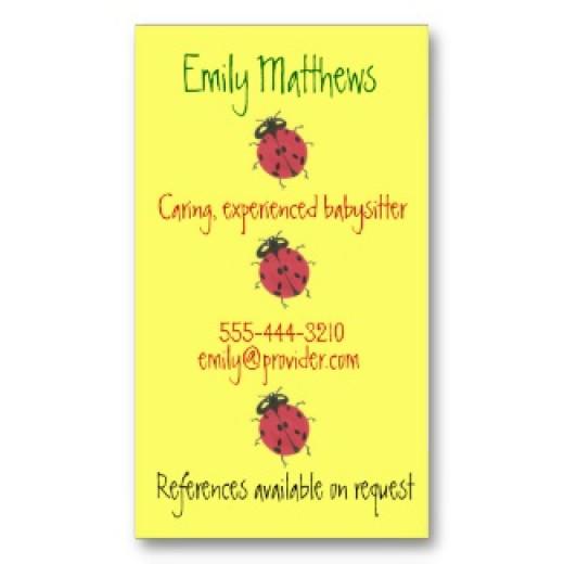 ladybug theme babysitter business card