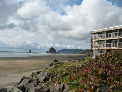 View of Haystack Rock from Tolovanna Inn