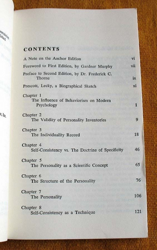 Self Consistency A Theory of Personality by Prescott Lecky - Table of Contents