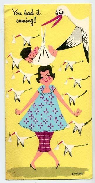 Vintage Greeting Card: Stork delivering the baby :)