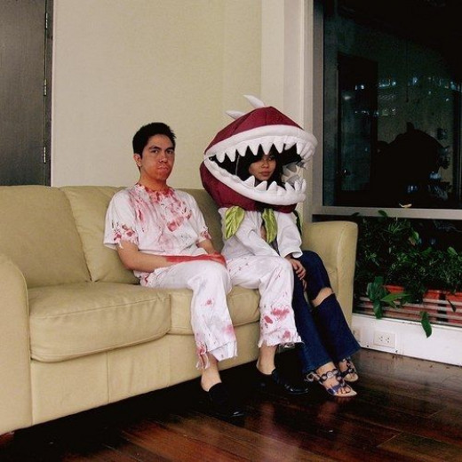 Chomper Plant Costume Head & A Run of the Mill Zombie