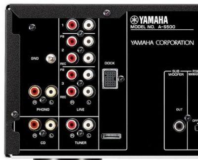 Close-up of phono input on Yamaha A-S500