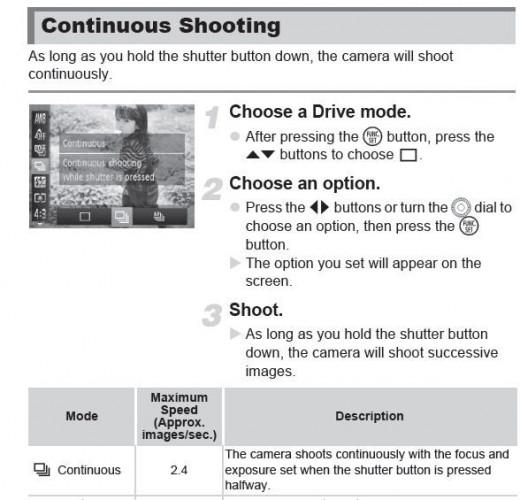 PowerShot SX40 HS Continuous Shooting Mode
