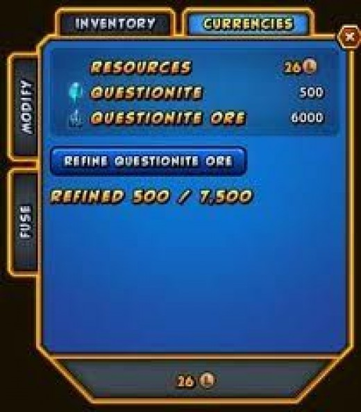 The Inventory Screen (courtesy Champions-online.com)