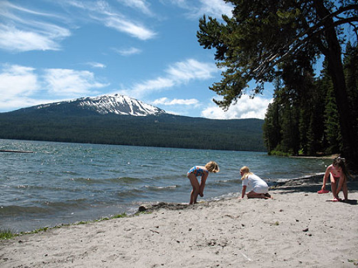View from the campground beach towards Mt. Bailey