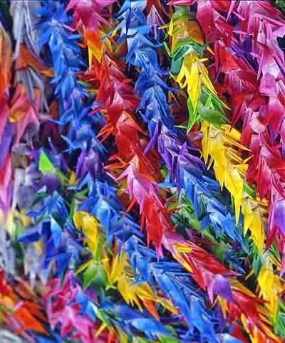 Paper cranes prayers for peace, Hiroshima Japan