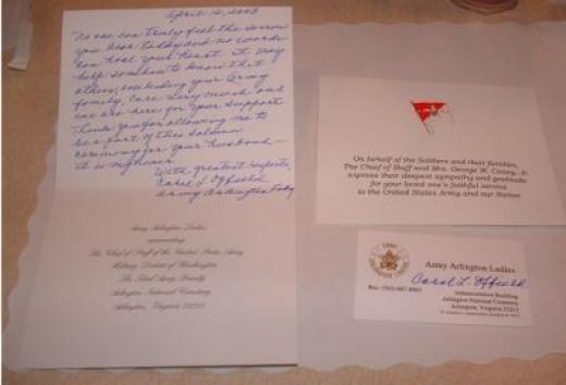 Arlington Ladies Hand-written Card