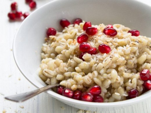 Barley Porridge with Pomegranate Seeds