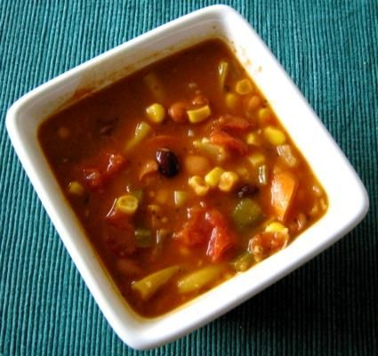 A Very Veggie Soup featuring Squash, Beans and Corn