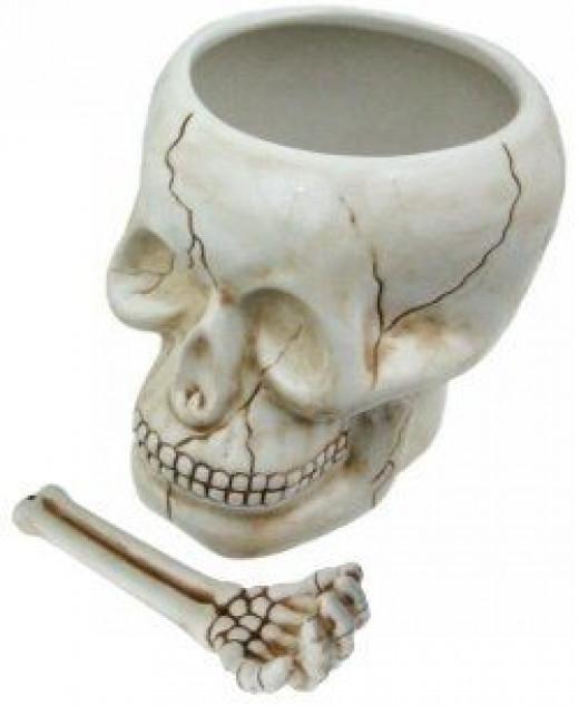 Skull bowl with bone spoon