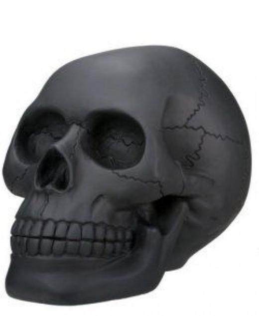 Black Skull Figurine