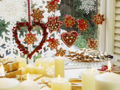 Christmas Window with Cookies and Candles