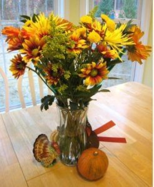 Thankgiving Vase of Fflowers