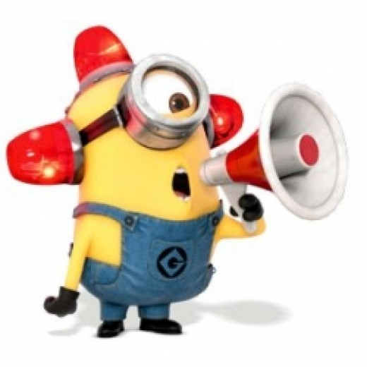 Alarm-sounding Minion from Despicable Me on Facebook