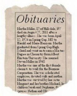 Fictitious Obituary on Newspaper Scrap