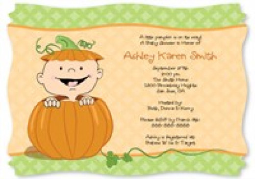 Look at these cute Halloween pumpkin baby shower invitation ideas.