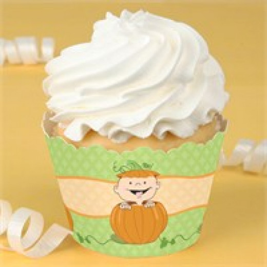 Pumpkin Baby Shower Cupcake Wrappers