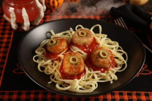 Spaghetti and Eyeballs, One Of Our Traditional Halloween Dinner Recipes